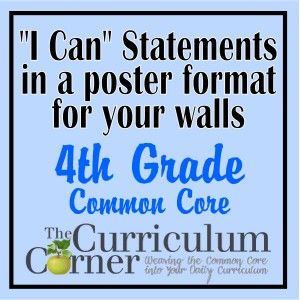 """4th Grade """"I Can"""" Statements in Poster Format"""