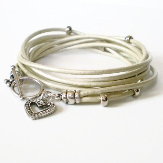 Hey, I found this really awesome Etsy listing at https://www.etsy.com/listing/154096958/metallic-cream-leather-wrap-bracelet