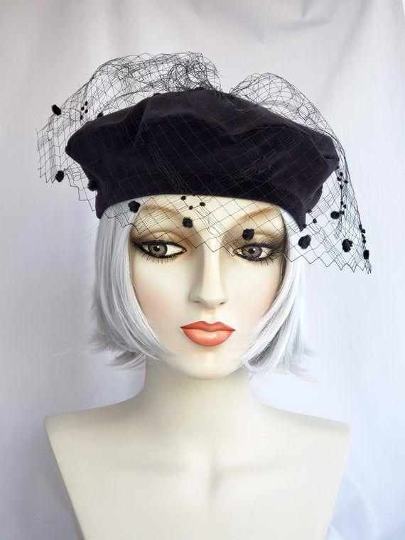 Black Velvet Beret With Vintage Veil Mini Beret Hat Etsy Vintage Veils Veiled Hats Beautiful Hats