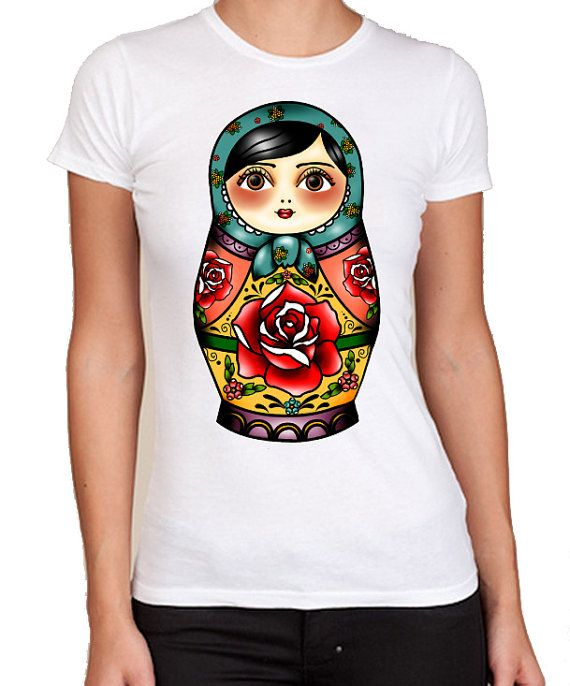 Russian Doll Matryoshka Matrioshka Traditional Art Tattoo Kitsch Ladies T-Shirt