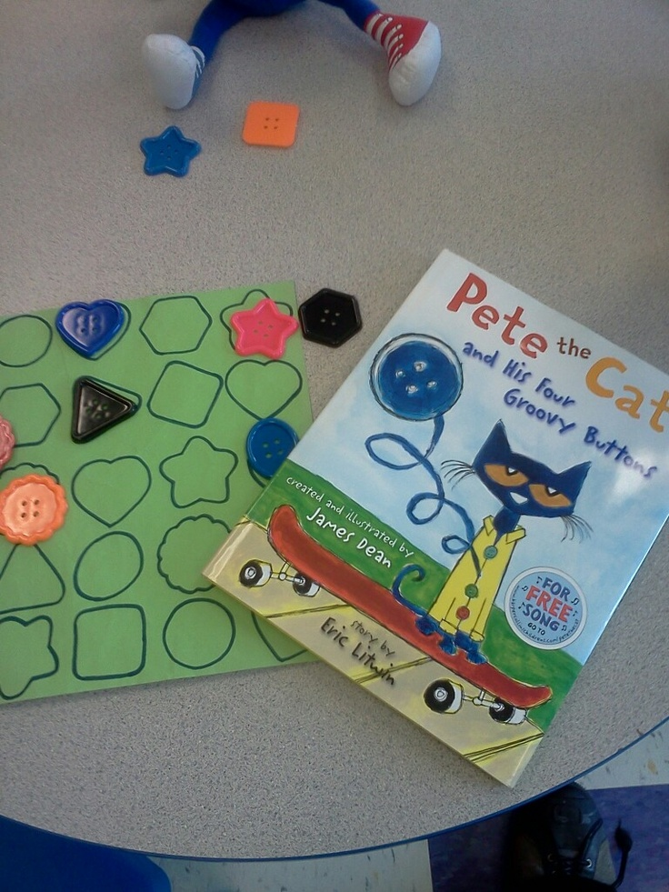 Sort buttons by shape. We also read pete the cat and his.groovy buttons to enhance this activity.