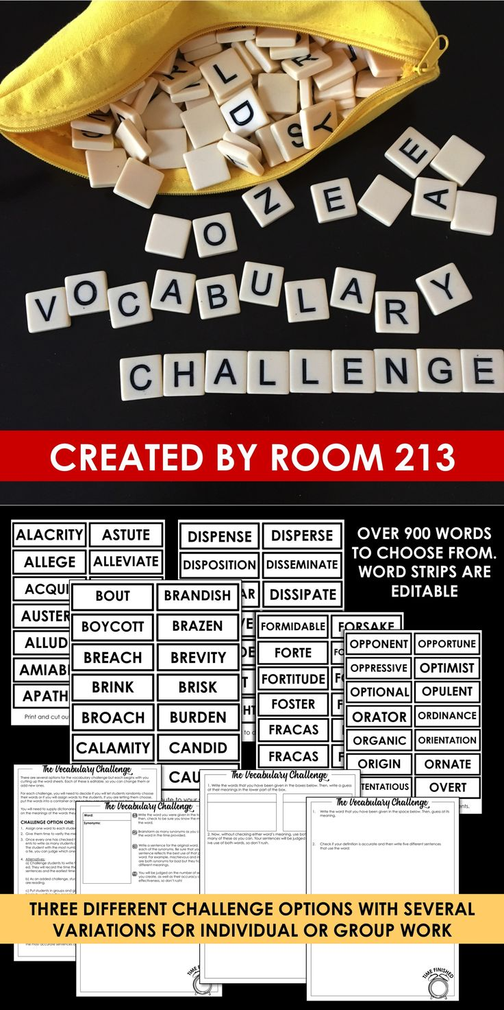 Middle and high school English teachers: do your students need to use more complex vocabulary? Use these vocabulary challenges to engage them in activities that will improve their word choice.