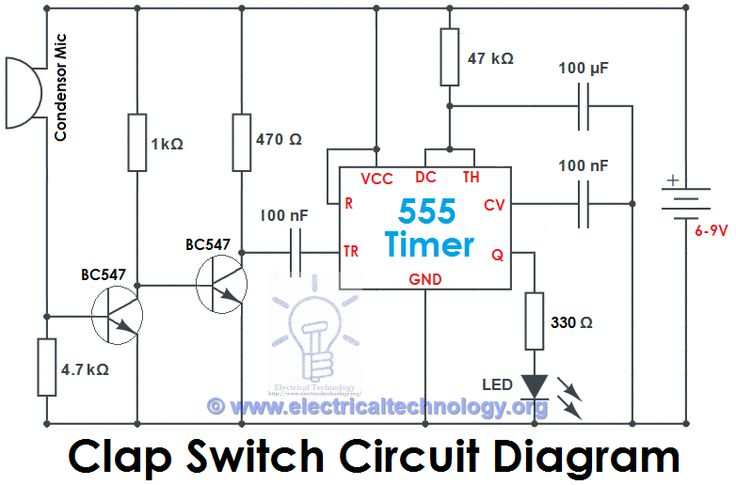 Circuit Diagram Of Clap Switch | Clap Switch Circuit Using Ic 555 Timer Without Timer Electronic