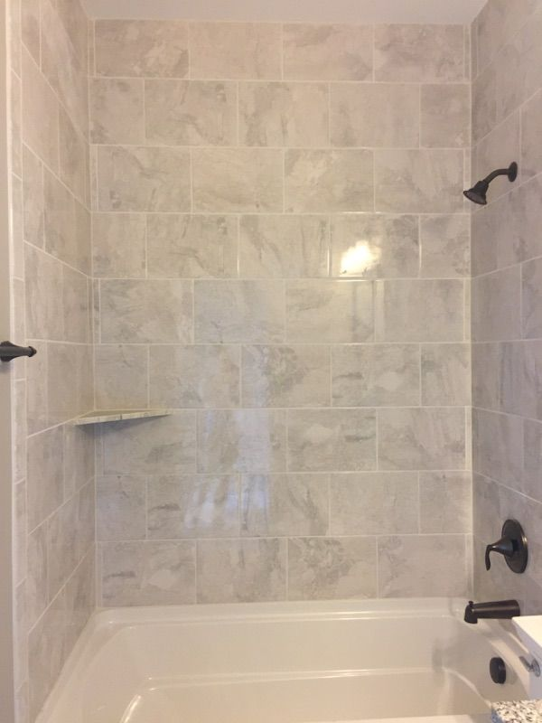 Marble Falls White Water 10x14 Tiles Installed Horizontal Brick Joint Bathroom Wall Tiles