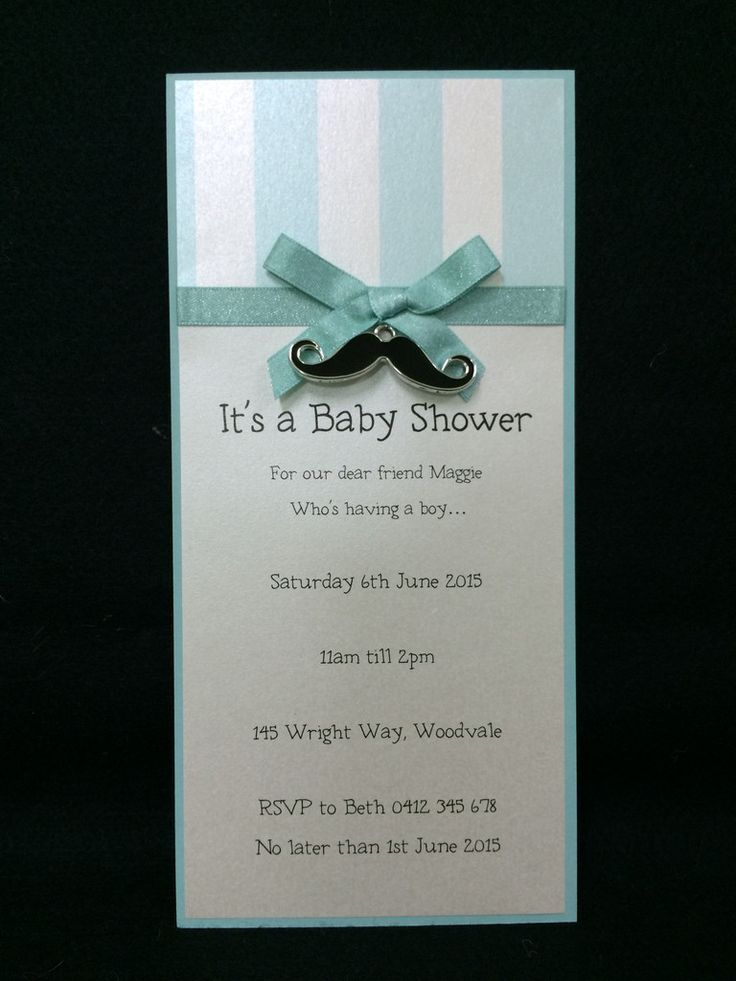 Invitation - Baby Shower - Aqua Stripe Mustache - Maggie