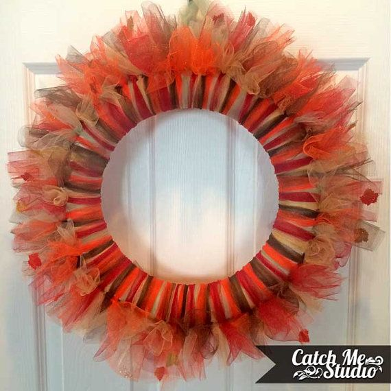 Fall Tulle Wreath With Fall Leaves and Glitter by CatchMeStudio