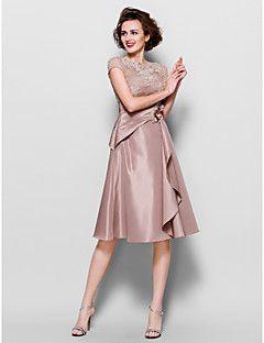 Lanting Bride® Trapèze Grande Taille / Petite Robe de Mère de Mariée - Transparent Mi-long Manches Courtes Dentelle / Taffetas - Billes