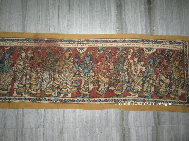 Pen Kalamkari wall hangings OLD ANTIQUE RAVANA WALL HANGING JKD-WH09