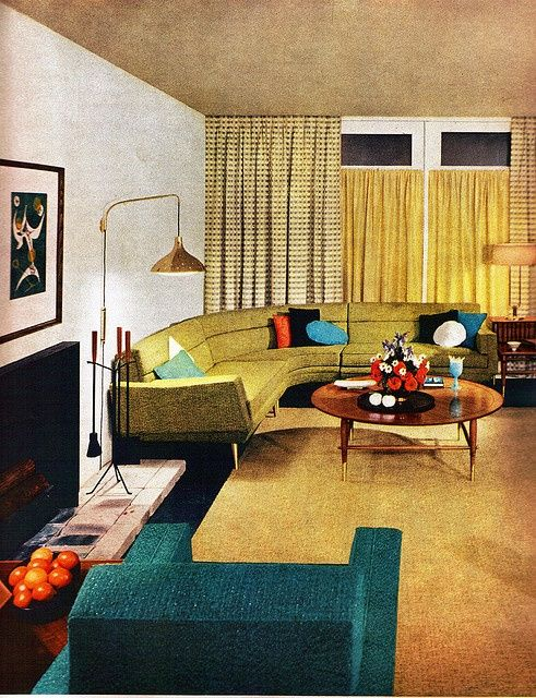original mid century home living room my grandmother had a sectional couch very similar to - Mid Century Modern Furniture Of The 1950s