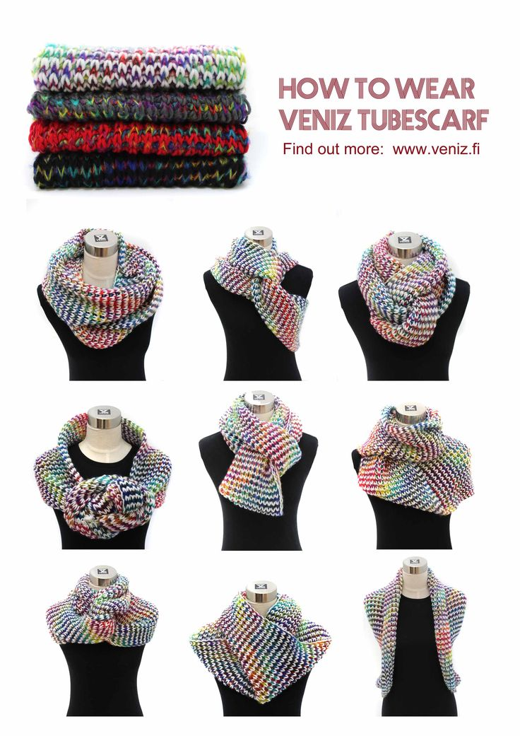 How to wear tubescarf Knitted multicolor scarf www.veniz.fi