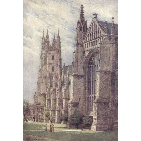 Canterbury 1907 SW transept & St Georges Twr Cathedral Canvas Art - William B Gardner (18 x 24)