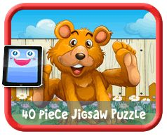 Happy Bear 40 Piece Online jigsaw puzzle for kids