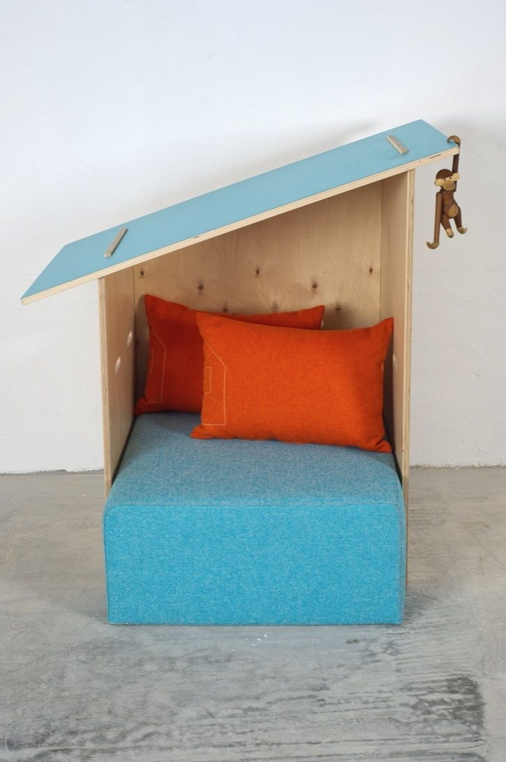 """It says """"Reading nooks for boys,"""" but this is a great midcentury modern design for a pet bed."""