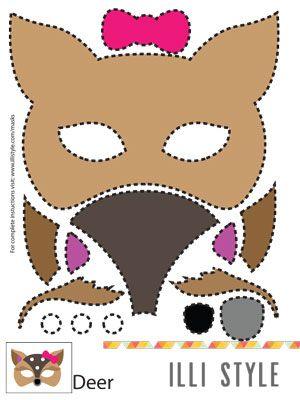 deer mask printable template - illistyle.com