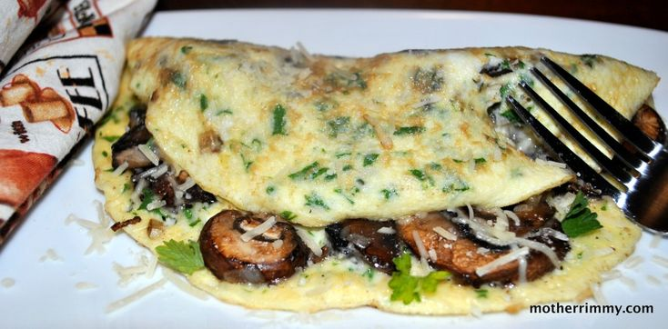 Swiss Cheese and Mushroom Omelette - Mother Rimmy's Cooking Light Done Right