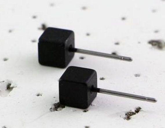 Black earrings, Black Tiny Cube Earrings, Black Cube Earrings, Tiny Cube Earrings, Black Square Earrings, Tiny Punk Earrings, Unisex gifts