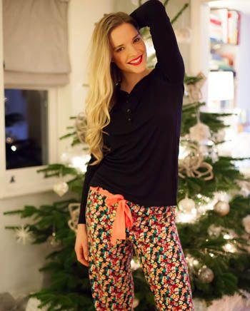 Audrey Knit Long Sleeve Pyjama Top and Woven Brushed Floral Print Pyjama Set