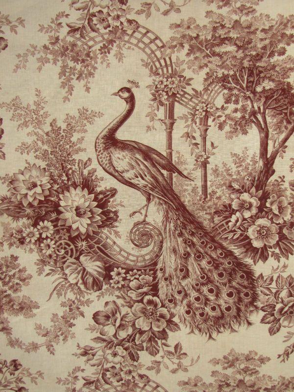 antique toile | Antique French Toile c1890 Peacock Linen Cotton Blend | eBay