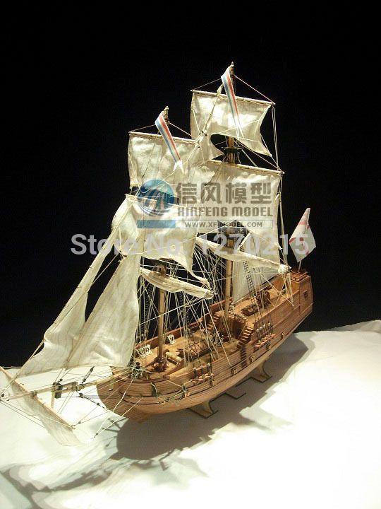 1/100 классический деревянные парусные лодки в золотая звезда комплект модель корабля