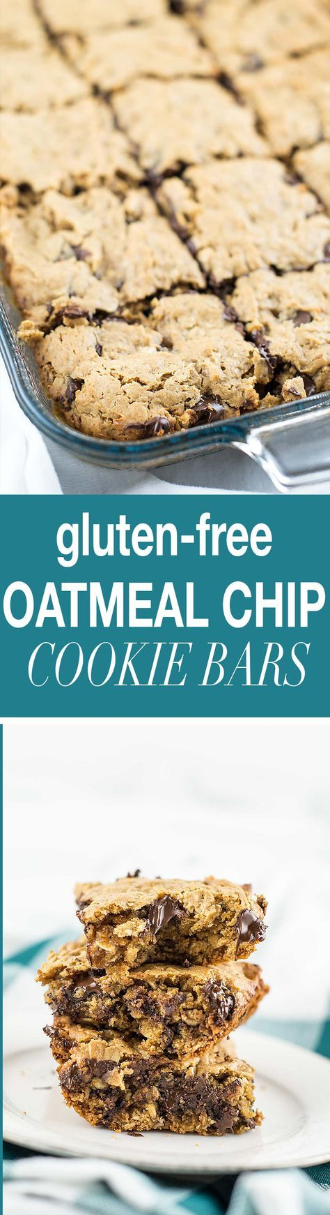 A healthy recipe for gluten-free oatmeal chocolate chip bars made using coconut flour, oat flour, and rolled oats. A delicious snack or dessert!