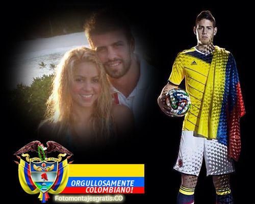 Fotomontaje de la seleccion colombia, bandera, james y orgullo patrio