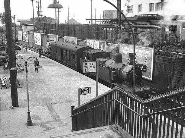 Hurstville Railway Station in southern Sydney in 1958. •State Records of NSW•