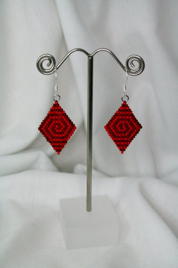 Rabbit Hole Red - Circle Maze Design in Brick Stitch Earrings on Etsy, $26.00