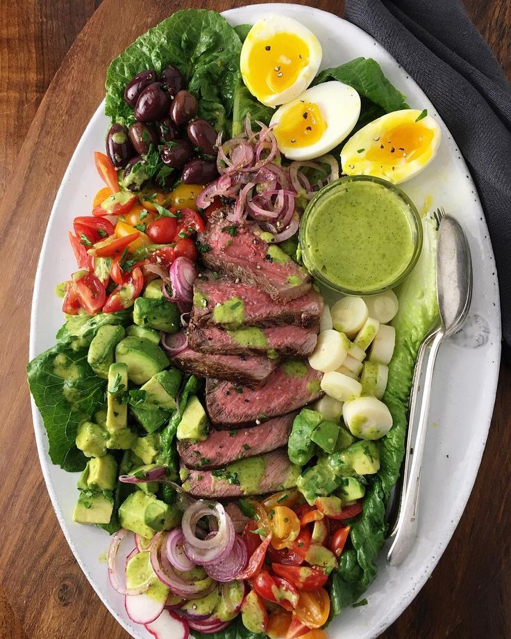 Grilled Steak Salad with Marinated Red Onions, Avocado, and Coconut Mango Lime Cilantro Vinaigrette