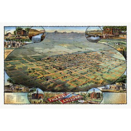 Historic Map of Phoenix Arizona 1885 Maricopa County Canvas Art - (24 x 36)