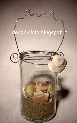 Lanterna con barattolo di vetro riciclato e conchiglie