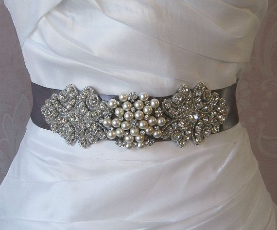 Gray Rhinestone and Pearl Sash Pewter Grey by TheRedMagnolia, $110.00