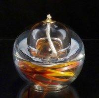 Lampe à huile / diffuseur de parfum avec du feuillage orange stabilisé, à découvrir sur le site www.algandelux.com