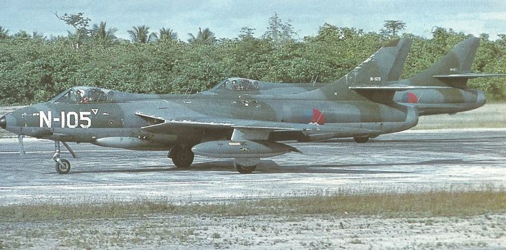 Royal Netherlands Air Force (Koninklijke Luchtmacht) Hawker Hunters of 322Sqn at Biak, Netherlands New Guinea, ca. 1960