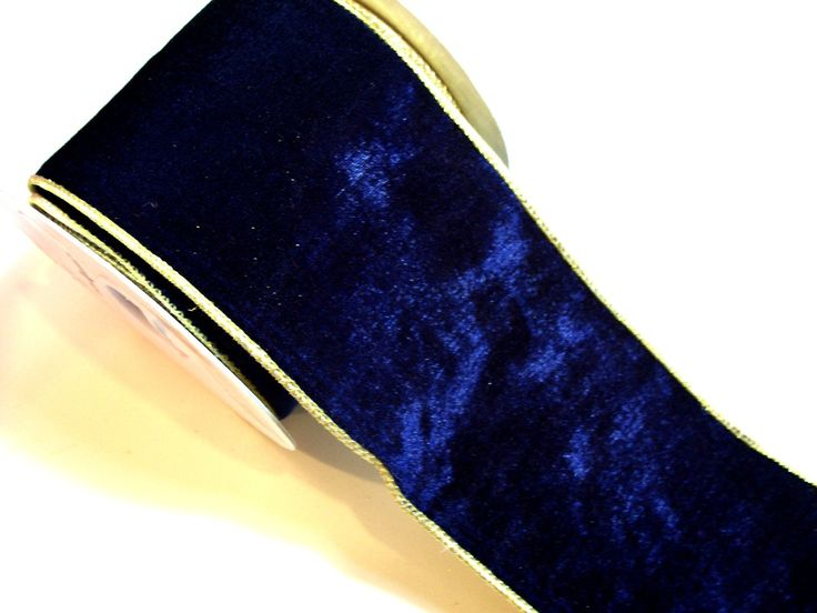 Blue Velvet Wired Ribbon, Offray Velplush Wired Ribbon 4 inches wide x 10 yards, Full Bolt of Navy Blue Velour Ribbon by GriffithGardens on Etsy