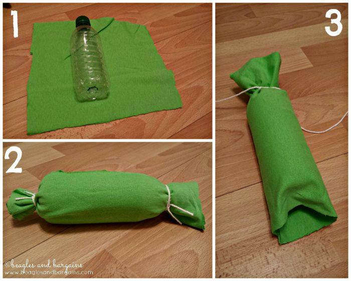 Three different DIY dog toys made by recycling old t-shirts and water bottles. #beaglesandbargains http://www.beaglesandbargains.com/diy-dog-toys-atozchallenge/