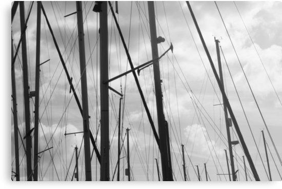 Silhouette of sailing yacht masts on cloudy sky, nautical • Also buy this artwork on wall prints, apparel, phone cases, and more.