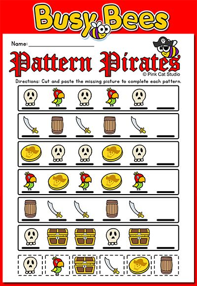 FREE - These fun pirate theme worksheets will help your students practice the AB, AAB, ABB and ABC patterns. The worksheets compliment my Busy Bees Pattern Pirates Interactive PowerPoint game. By PInk Cat Studio