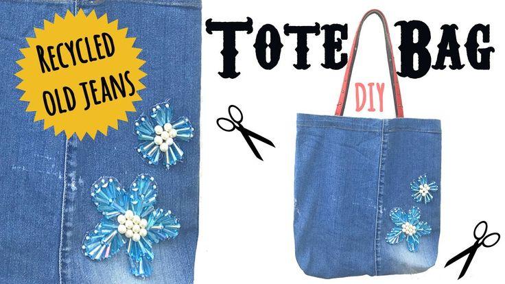 Tote Bag DIY Tutorial | Recycle Old Jeans  #totebag #diy #recycle #oldjeans
