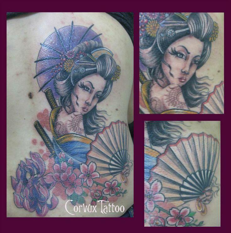 Geisha, Oriental Corvux Tattoo Diana Velasquez Medellin Colombia