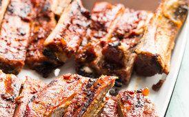 Classic Barbecue Pork Ribs with Smoky Bacon Barbecue Sauce   / Lara Ferroni