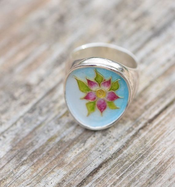 #Flower Ring, #Cloisonne Ring, Sterling Silver Ring, Enamel Ring,Floral Jewelry, #Botanical Jewelry, Pink Flower,OOAK, Giampouras Collections
