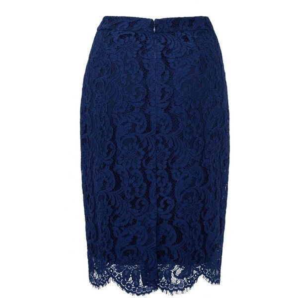 Our Secret! Skirt ($105) ❤ liked on Polyvore featuring skirts, pencil skirts, knee length pencil skirt, lace skirts, blue pencil skirt and scalloped lace skirt