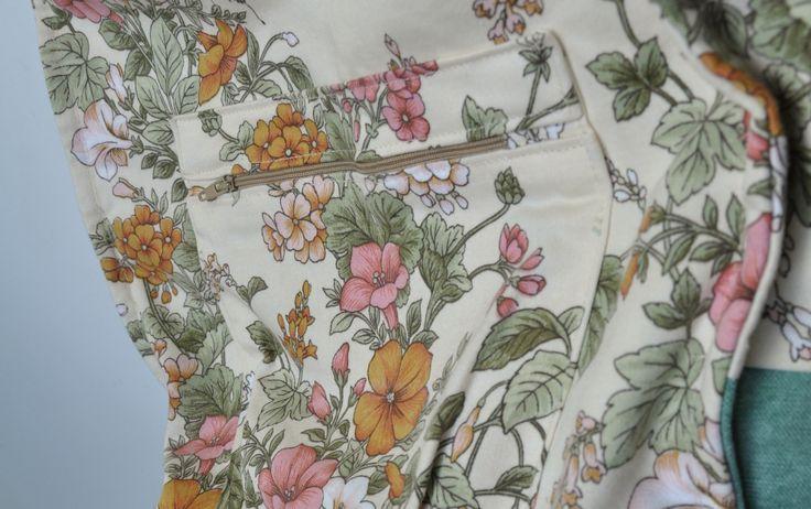 plecak kwiatowy miętowy w środku kieszonka   #bag #plecak