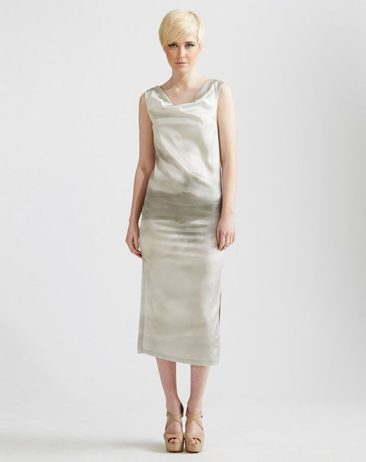 Cowl Neck Maxi Dress in Grey Clouds Printed Silk available online at www.jenkinsandjane.com.au
