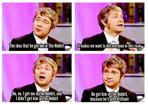 "Interviewer: ""So did Benedict get you in the Hobbit? Or did you get him in?"" Martin's response above. - Yesss"