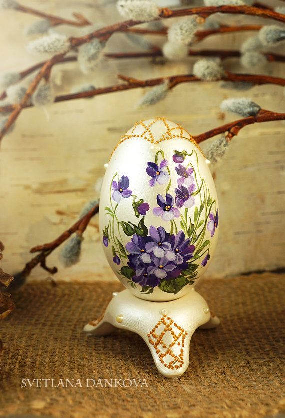 "Easter egg , Hand painted egg, Ceramic, 4'5"" inch, Shabby chic"