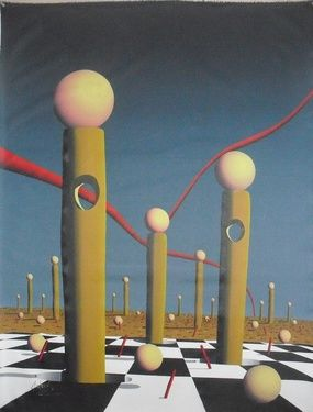"""Saatchi Online Artist A-K-RONA ART; Painting, """"Monoliths at the edge with great lightning"""" #art"""