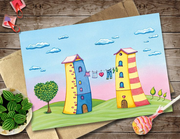 Cartoon Houses Scenery, Watercolor Love Card, Digital Instant Download Invitation, Cartoon Houses with Clothes Line and Love Tree Art Print by NopiArtStudio on Etsy