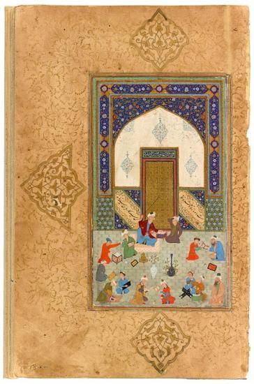 Classroom Scene. The headmaster is about to strike a student, who catches his turban. Other students read, misbehave, write, or polish paper (left corner). ˓Abd al-˓Aziz Sulṭān (d.1549), for whom this manuscript is believed to have been commissioned, established a library that was supposedly without equal. | The Morgan Library & Museum