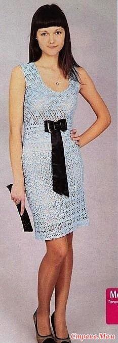 . Голубое ажурное платье. - Все в ажуре... (вязание крючком) - Страна Мам